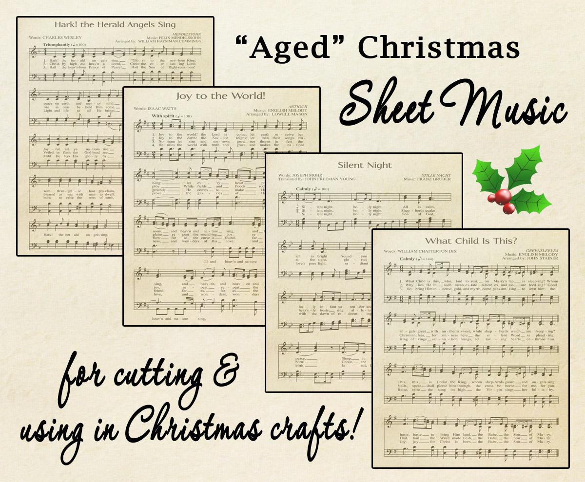 Free Printable Aged Music Sheets Celebrating Holidays