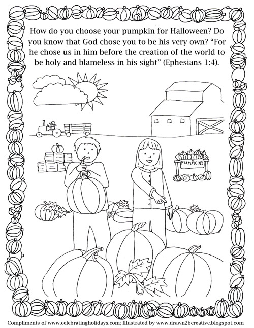 Pumpkin Carving Coloring Pages with Bible Verses for ...
